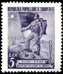 Albanie 416 soldat et drapeau